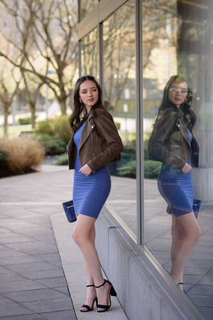 Bellevue Urban Senior portrait with reflection
