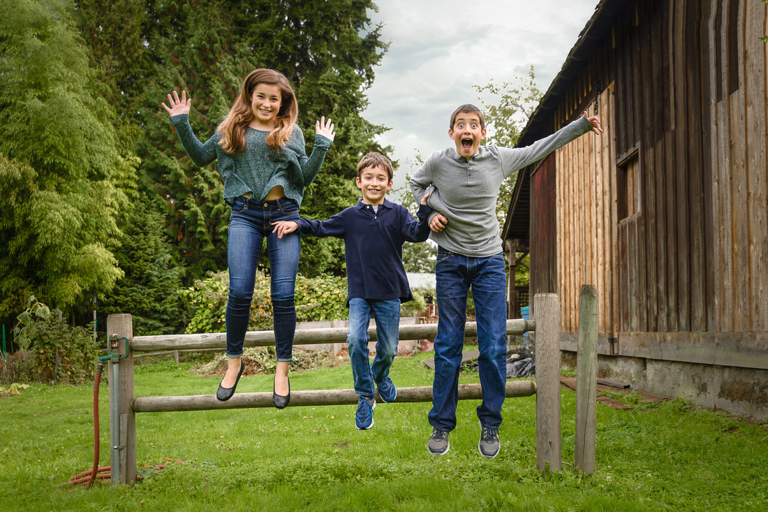 Portraits of Kids jumping