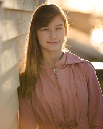 Back lit portrait photo of a Senior student in Kirkland