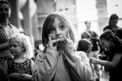 B&W Seattle event photography - Candid Children Portrait