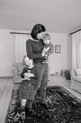 Lifestyle Portrait of a Mom and her children at her home in Seattle