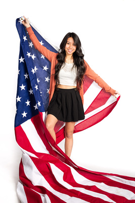Senior Portrait with the US flag - Kirkland, WA